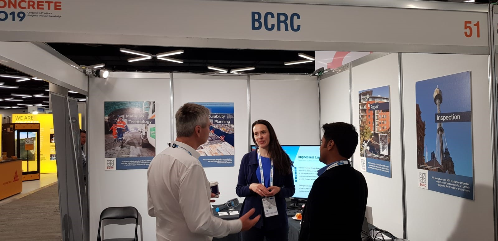 BCRC durability consultant talking with their clients at Concrete 2019